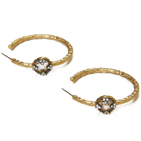CZ Gold Hoop Earrings