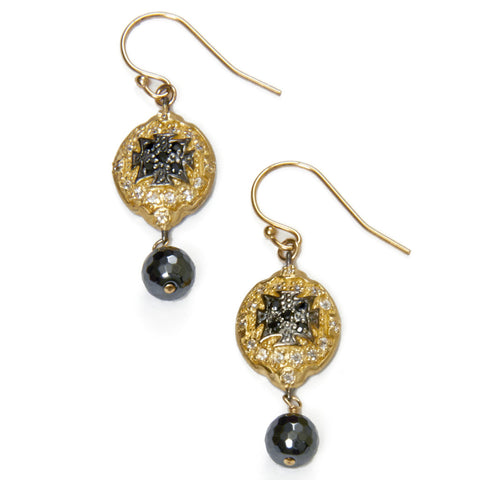 Gold and Onyx Shield Earrings