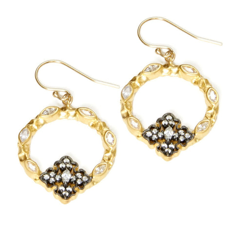 Gold CZ Flower Hoop Earrings