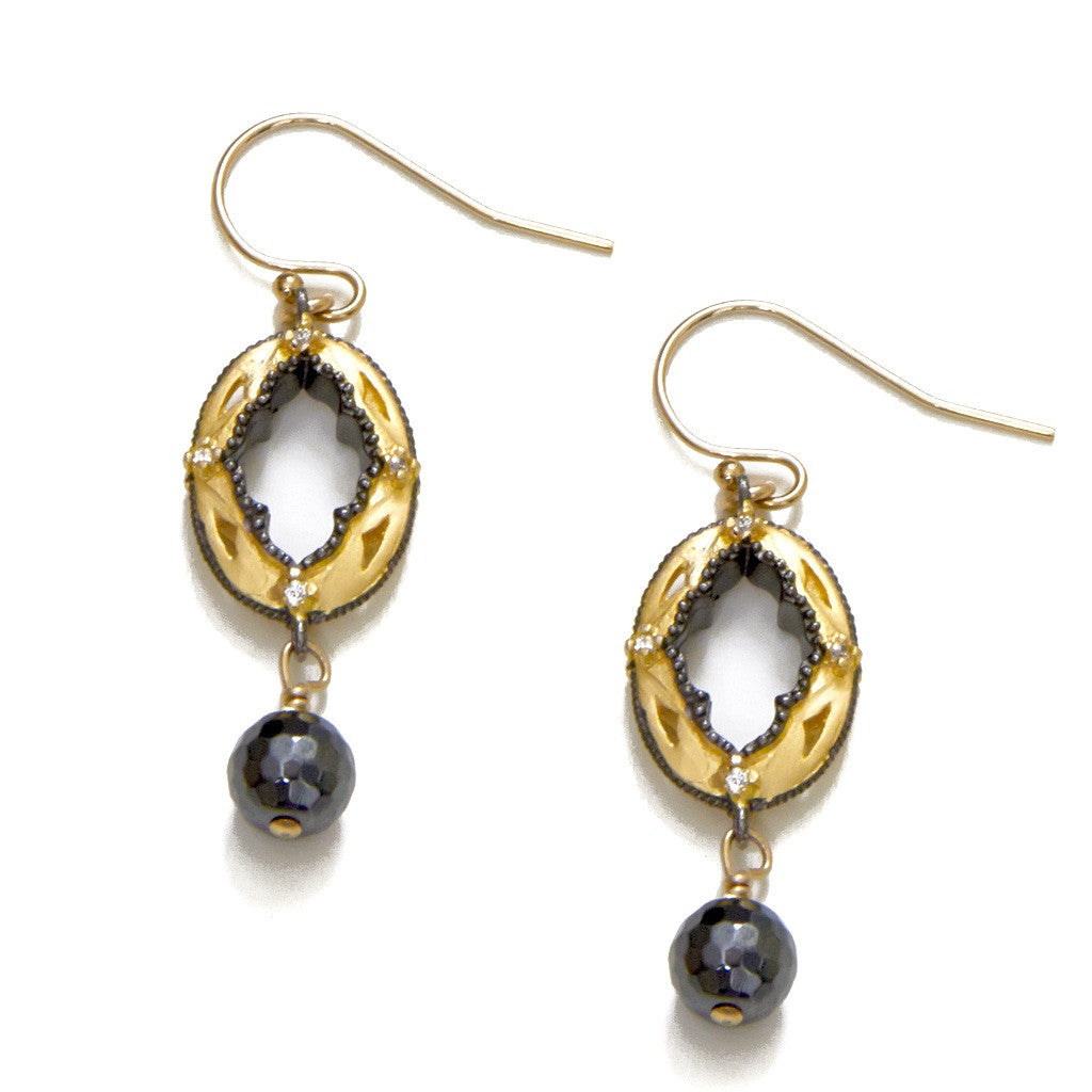 Gold Oval Hematite Earrings