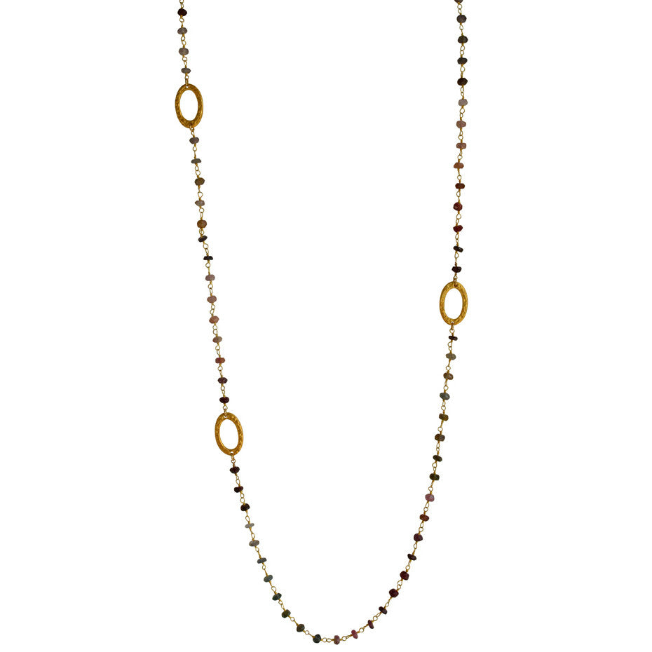 Multi Spinel Gold Station Necklace