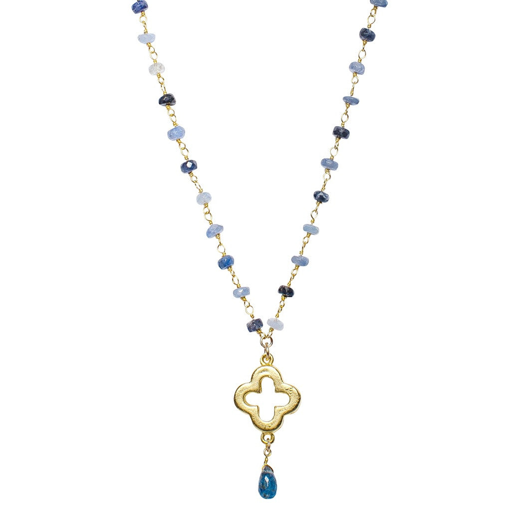 Raw Sapphire Gold Clover Necklace