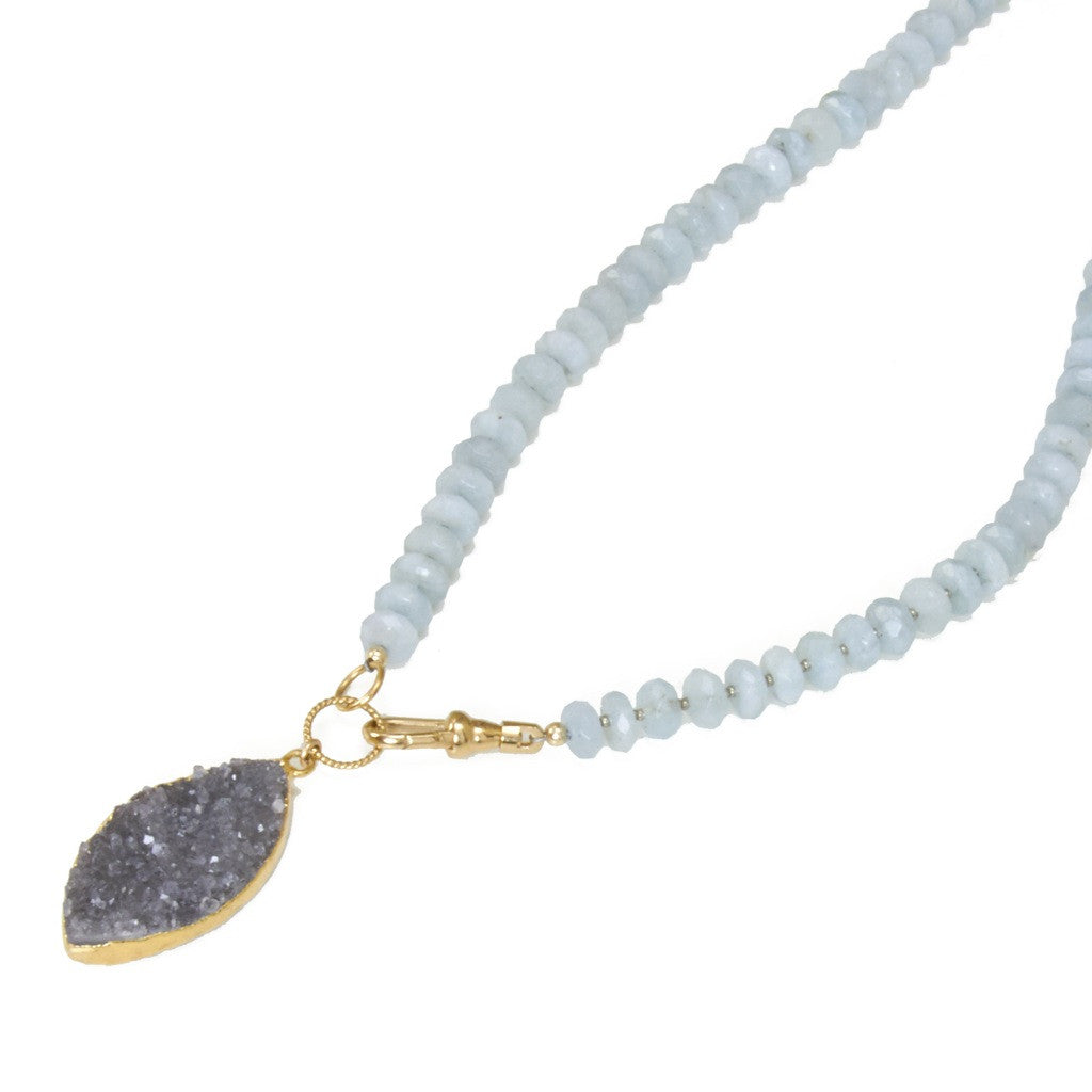 Aquamarine Druzy Necklace