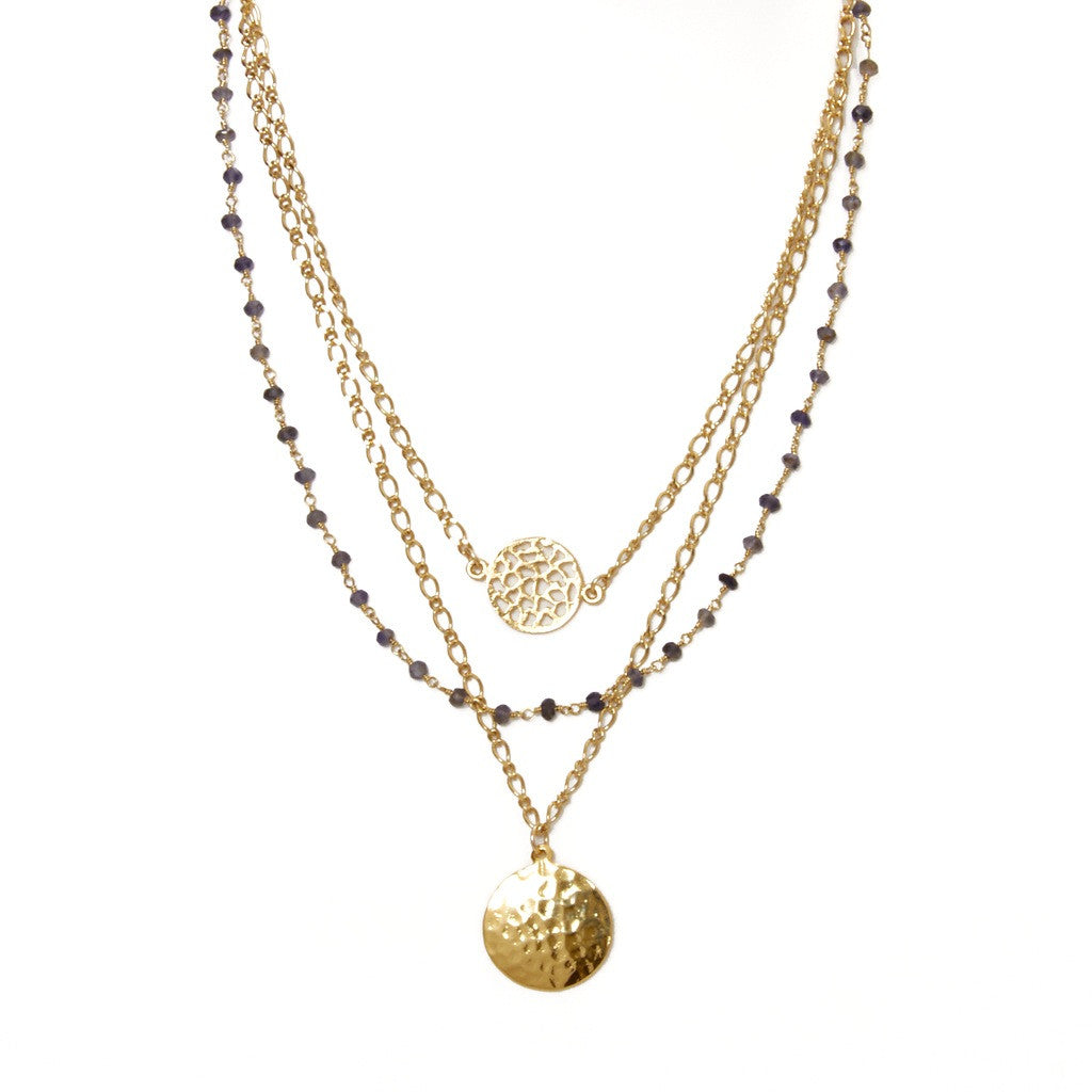 Iolite Triple Strand Necklace
