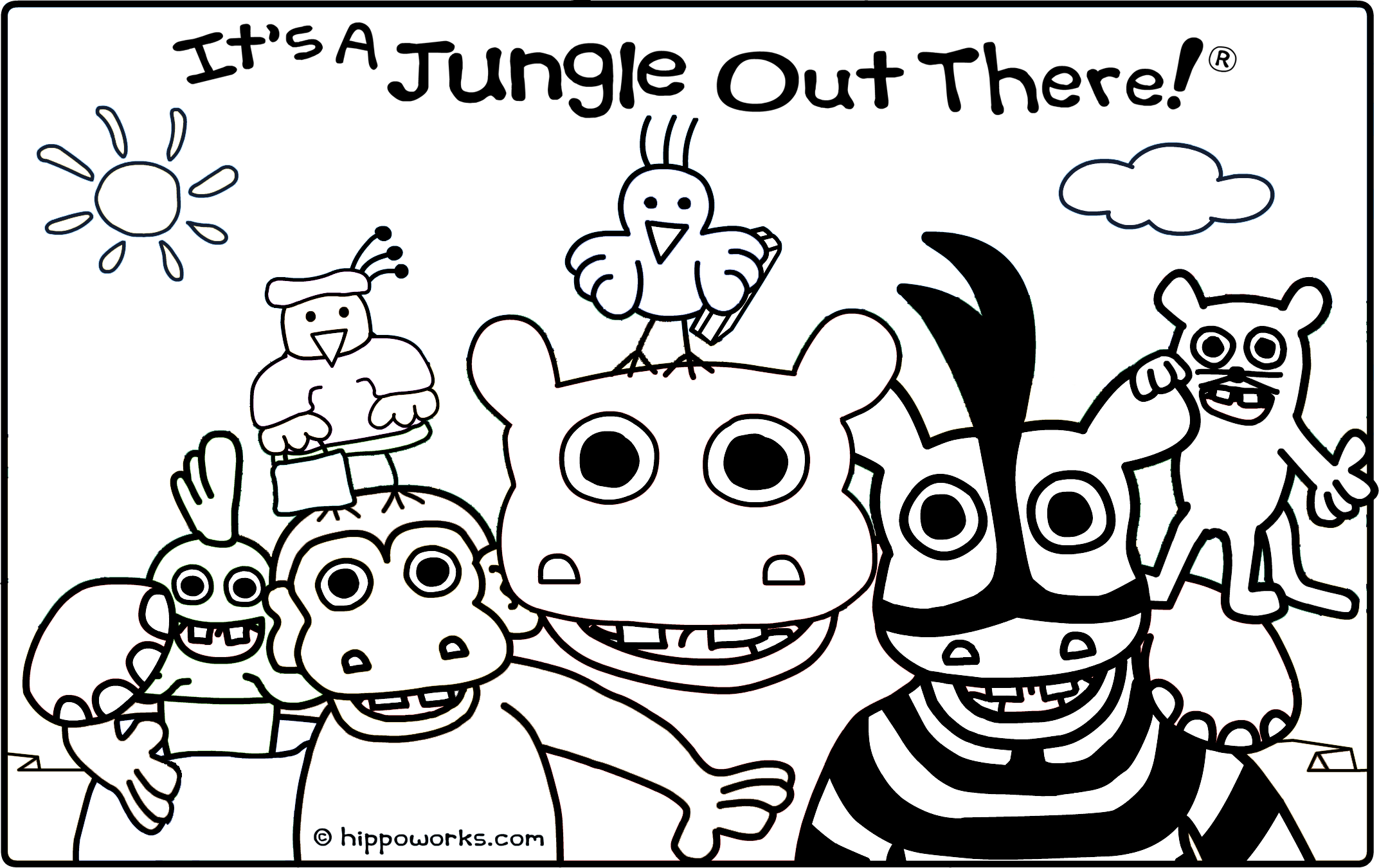 Coloring sheets click to download and print hippo for Stay out coloring pages