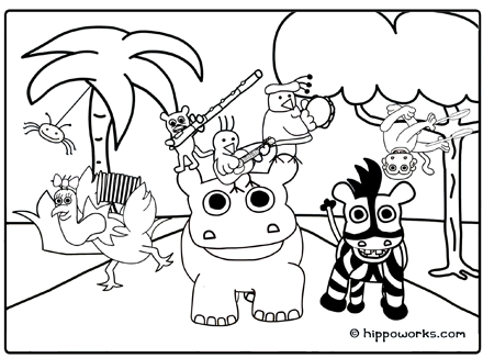 Hippo Works Coloring Sheet - It's A Jungle Out There