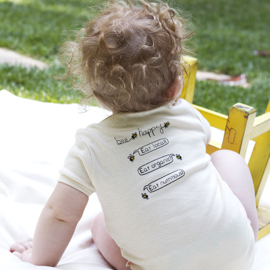 Bee happy organic onesie (double sided)