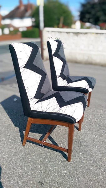 Vintage occasional chairs reupholstered with African batik monochrome zig zag fabric