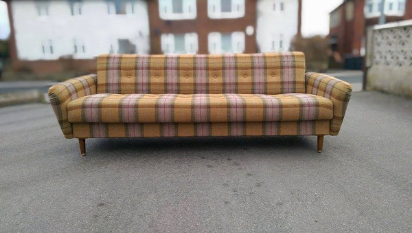 Vintage mid century daybed sofa reupholstered in Art of the Loom wool plaid