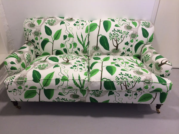 George Smith sofa reupholstered in Svenskt Tenn Window fabric