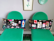 Load image into Gallery viewer, A bolster cushion made from Christian Lacroix Maison des Jeux fabric.