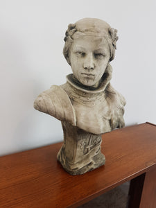 Stunning sculpted stone bust of Joan of Arc