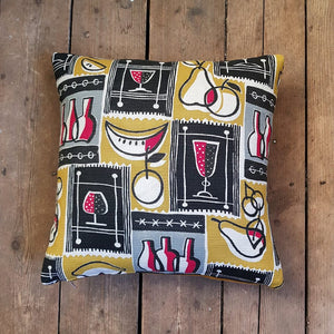 Mid century retro cushion made from vintage barkcloth
