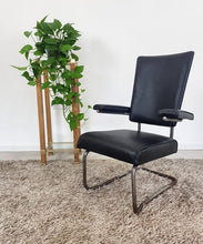 Load image into Gallery viewer, Vintage Industrial cantilevered chrome and black vinyl Office chair