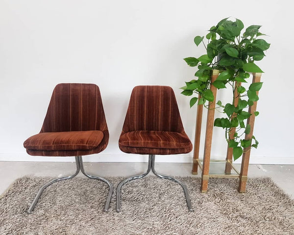 mid century1970's brown velour and chrome cantilevered chairs