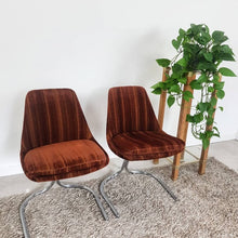 Load image into Gallery viewer, mid century1970's brown velour and chrome cantilevered chairs