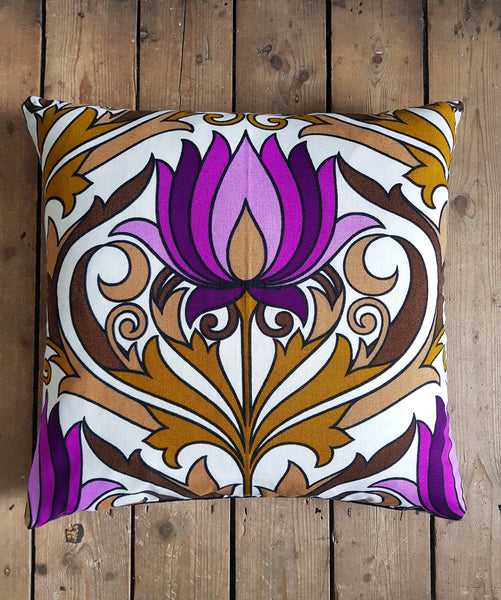 large cushion made from vintage 1970's fabric lotus flower