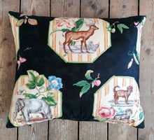 Load image into Gallery viewer, Stunning cushion made from an Brunschwig & Fils fabric featuring a beautiful zebra, horse and ram.