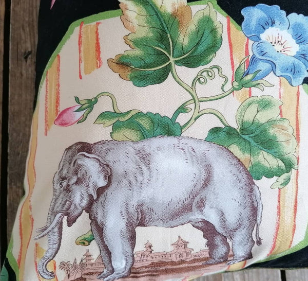 Stunning cushion made from an Brunschwig & Fils fabric featuring a beautiful zebra, horse and ram.