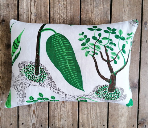 "Rectangular cushion made from Josef Frank ""Windows"" fine quality linen"