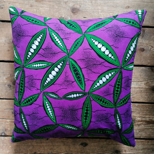 Violet purple and green African wax fabric cushion