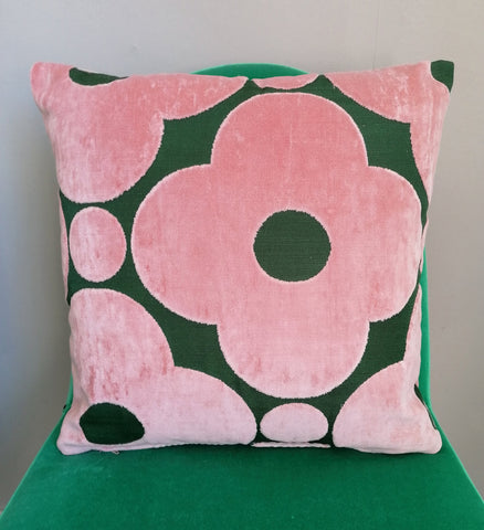 Cushion made from Orla Kiely spot flower velvet in pink and green