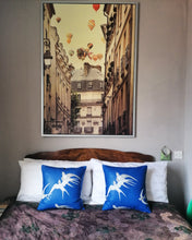 "Load image into Gallery viewer, Beautiful blue cushion made from Sandersons ""Swallows"""