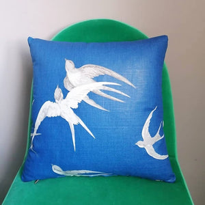 "Beautiful blue cushion made from Sandersons ""Swallows"""