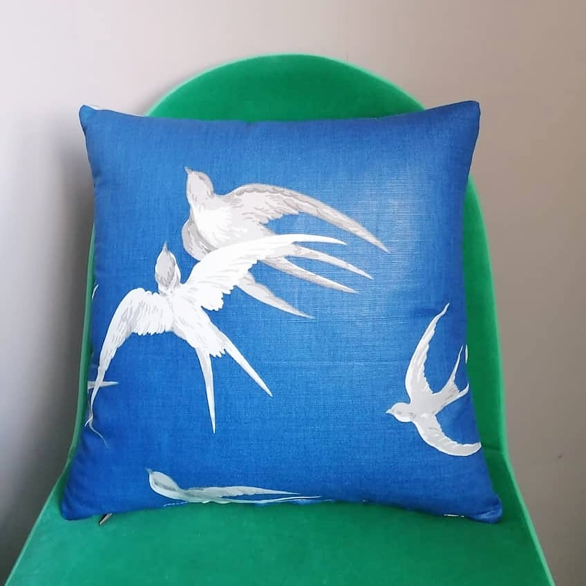 Beautiful blue cushion made from Sandersons