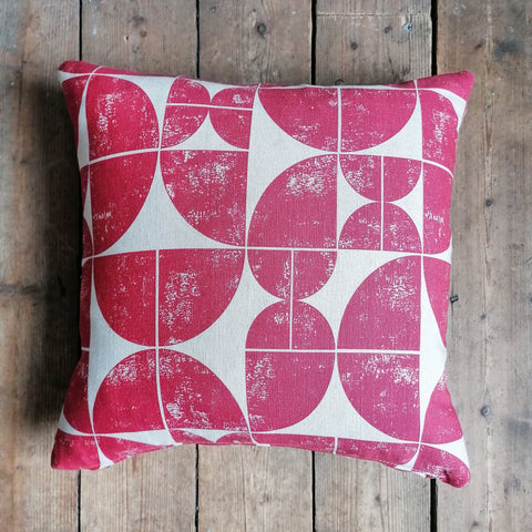 "Cushion made from an Ian Mankin fabric called ""Acton"""