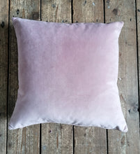 Load image into Gallery viewer, Moleskin velvet cushion in a pale rose pink colour