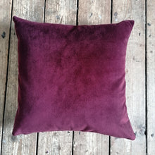 Load image into Gallery viewer, Moleskin velvet cushion in a maroon burgundy colour