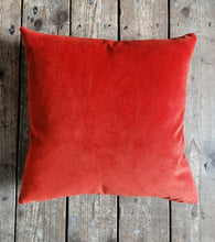 Load image into Gallery viewer, Moleskin velvet cushion in a paprika burnt orange