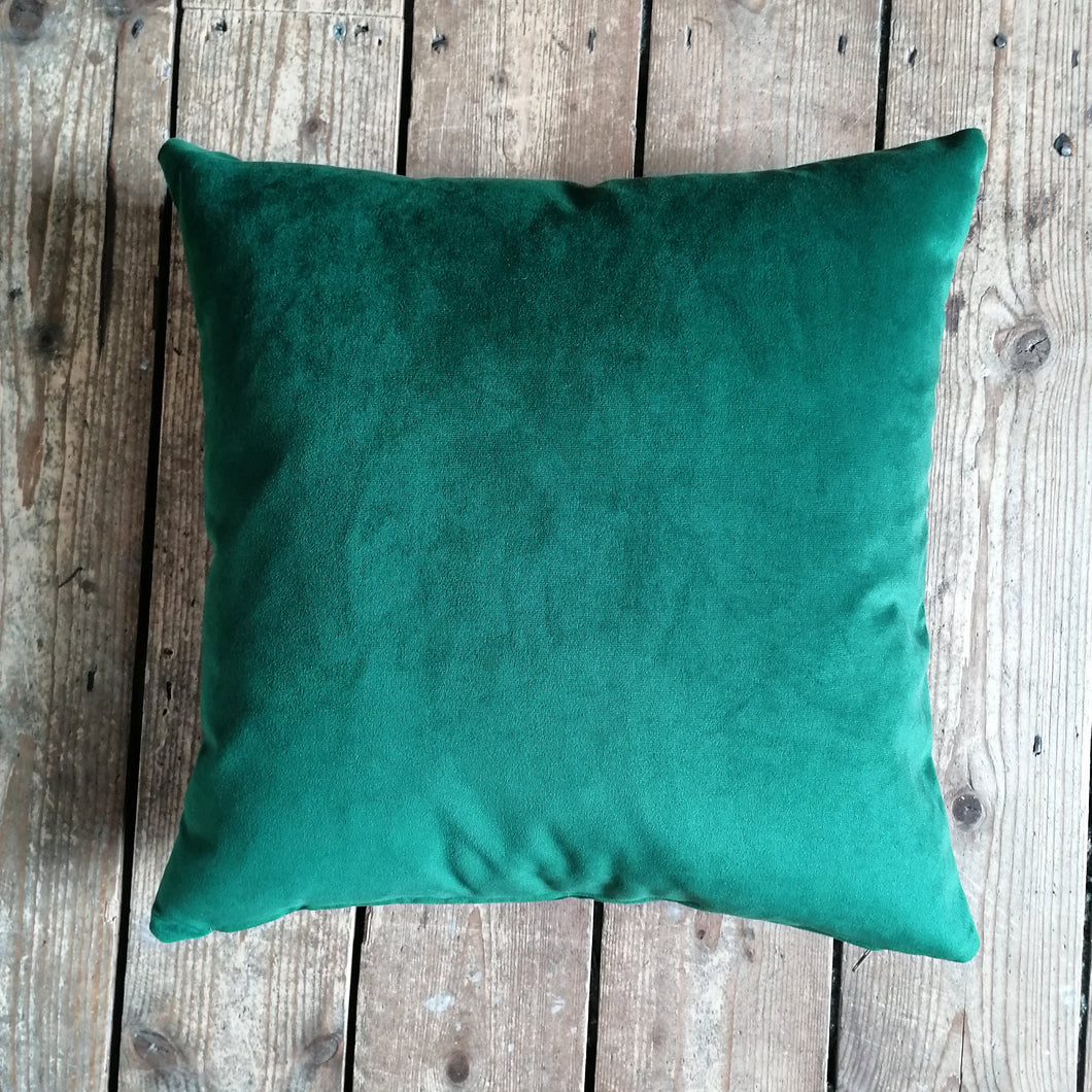 Moleskin velvet cushion in a forest green colour