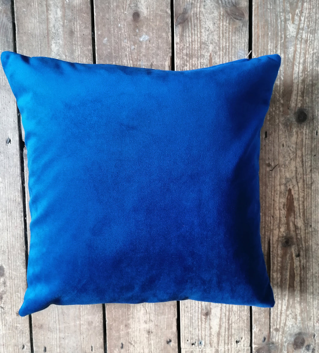 Moleskin velvet cushion in a cobalt blue
