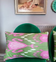 Load image into Gallery viewer, Beautiful bolster cushions made from Ikat fabric from Uzbekistan