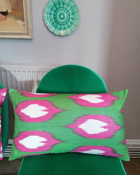 Beautiful bolster cushions made from Ikat fabric from Uzbekistan