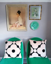 Load image into Gallery viewer, Cushion made from Orla Kiely spot flower velvet in black and tea rose