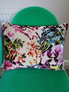 Stunning cushion made from jacquard velvet and gold fabric by Designers Guild called Martineau.