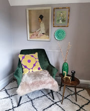 Load image into Gallery viewer, Cushion made from Orla Kiely spot flower velvet in purple and gold