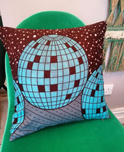 Load image into Gallery viewer, Disco ball cushion made from African wax fabric