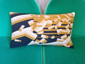 Cushion made from a vintage Barbara Brown for Heals fabric called Scherzo