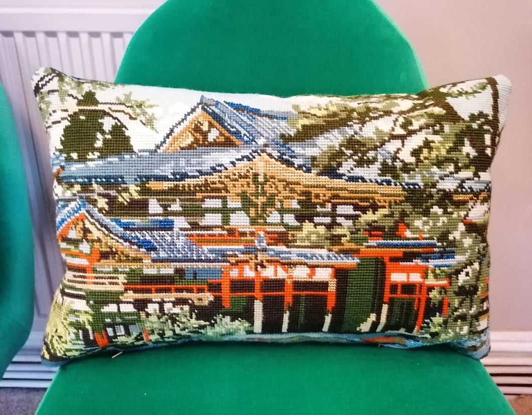 Needlepoint tapestry cushion featuring a Japanese temple