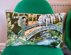 Needlepoint tapestry cushion featuring a Geisha strolling in a Japanese garden