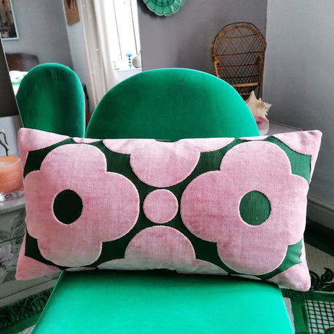 Large bolster cushion made from Orla Kiely spot flower velvet