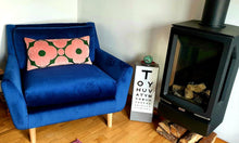 Load image into Gallery viewer, Large bolster cushion made from Orla Kiely spot flower velvet