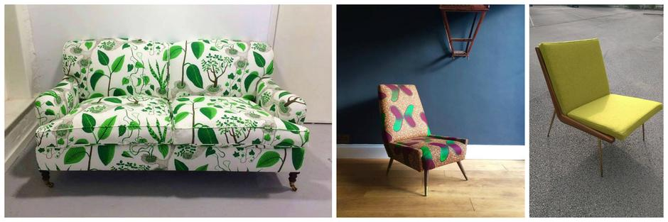 Vintage chairs reupholstered by Eclectic chair Upholsterers in Leeds and Manchester