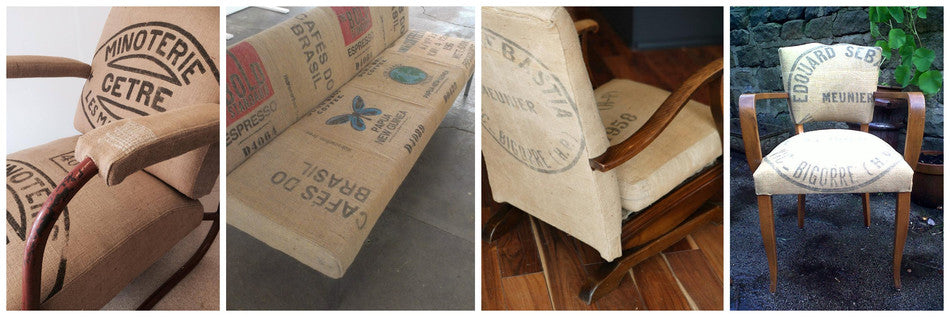 Vintage chairs reupholstered with French grain sacks and coffee sacks by Eclectic Chair in Leeds & Manchester