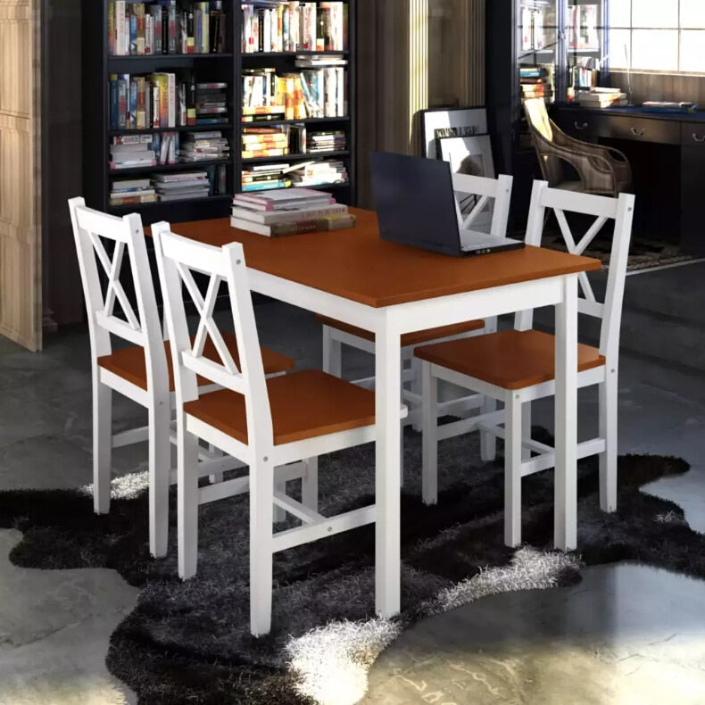 VidaXL Dining Set 5 Pieces Solid Wood Brown Professional Room Sets Four Chairs And A