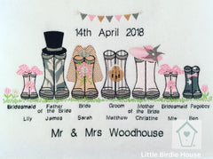 Personalised Wedding Wellies Family Frame